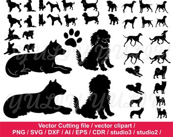 Dog Silhouettes clip art / Animal Silhouettes / Puppy dog paw /  paw cutting file / Commercial Use