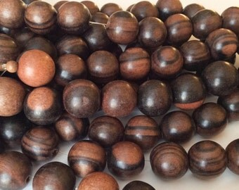 30 Round Wood Beads Tiger Ebony Natural Wood Beads 15mm