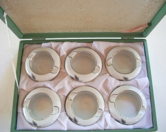 Clearance on Vintage Set of Six Fukagawa Arita Japanese Porcelain Personal Ashtrays with Case WAS 63.00 NOW