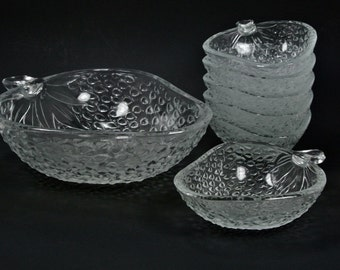 Serving Bowl Set Glass Clear Strawberry Italian