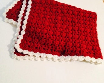 Crocheted Dog blanket/bedding in red with white scallop edging; soft and warm; measures 20 inches by 20 inches.