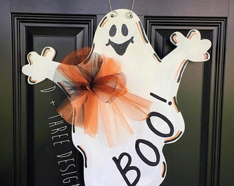 Ghost Wooden Door Hanger // Halloween Door Decor // Fall Door Decor // Rustic Door Hanger Wreath