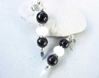 Black and White Glass Dangle Earrings Handmade Dangle Silver Plated Earrings