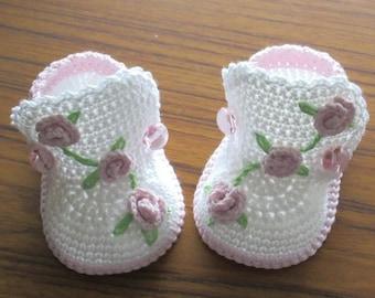 Crochet baby boots,Crochet baby shoes,Crochet booties,Crochet roses