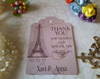 Thank you tags, Paris Tags, Eiffel Tags, Personalized Wedding Tags, Wedding Tags, Wedding Favor Tags. Set of 25 to 300 pieces,
