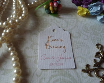 Love is brewing tag - Love is brewing favors - Wedding favor tag - Wedding gift tag - Set of 25 to 300 pieces, Mini tag
