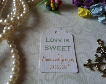 Love is Sweet Gift Tags-Wedding Favors-Bridal Shower favors-Wedding Coffee Favors-Love is Sweet Tags-Set of 25 to 300 pieces Mini tag