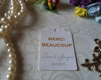 merci beaucoup tag - Wedding thank you tag - Personalized wedding tag - Wedding gift tag -Set of 25 to 300 pieces Mini tag