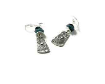 Fractured Mandalla Earrings - silver tribal - boho earrings  As seen on BONES season 11 episode 8