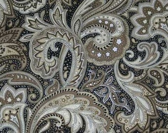 Perugina Paisley Fabric By the Yard, Half, Fat Quarter Black Tan Khaki Paisley Floral 100% Cotton Quilting Apparel Fabric BTY t1/36