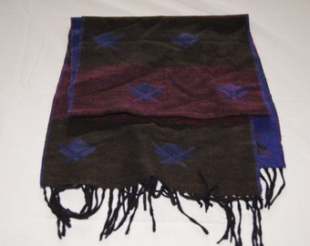 Vintage 1980's - Made in England Wool Dark Merlot and Navy Subtle Patterned Winter Scarf