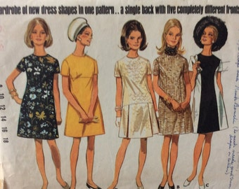 CLEARANCE!!  Butterick 5086 misses A-line dress with five different looks size 10 bust 32.5 bust 32 1/2 vintage 1960's sewing pattern