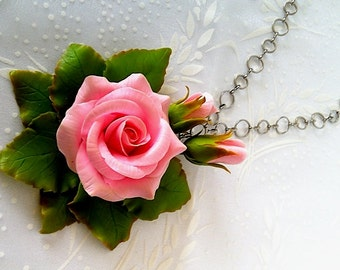 "Pendant ""Pink rose"" -Clay flower jewelry-Floral jewelry-Pink flowers-Clay flower"