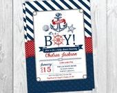 Nautical Baby Shower Invitation - Beach Boy Baby Shower - Ahoy It's a Boy - Anchor Invite # 023