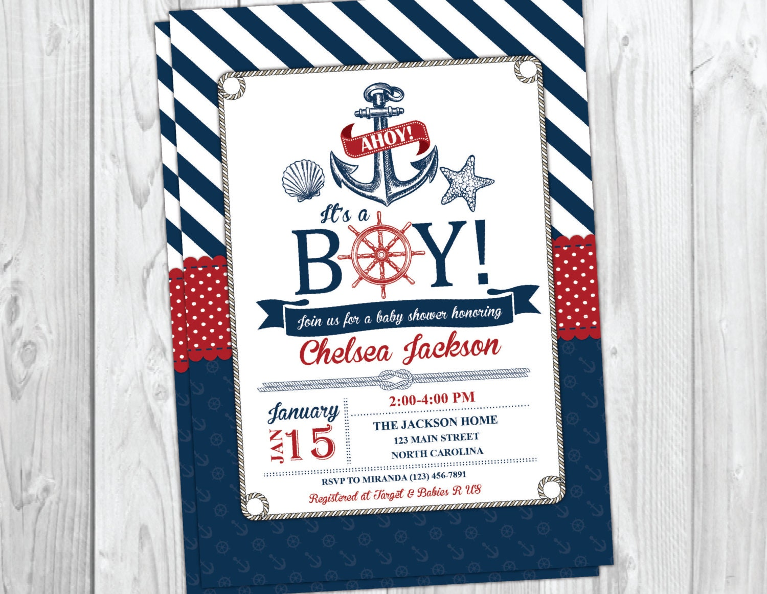 nautical baby shower invitation beach boy by yourmaineventprints, Baby shower