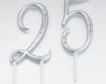 "LILLIAN ROSE SILVER 3.5"" Numbers Cake Topper"