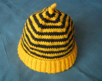 """Hand knitted """"Garden Friends"""" bumblebee baby beanie hat - 3 to 6 months or 6 to 12 months"""