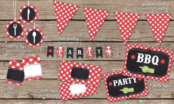 BBQ Printable Party decorations: bunting, tags, cake topper, cutlery jar tags, party signs for summer BBQ and party - instant download