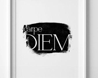 Carpe diem, printable art, best selling items, contemporary art, motivational wall decor, black and white, Carpe diem sign, digital print