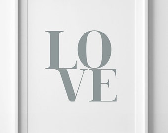 Gray wall art print, Silver print, printable art, love wall art, typography print, gray wall decor, love print, love poster, typography art