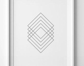 Silver print, gray wall decor, wall art print, silver art, geometric poster, silver poster, gray wall art, printable art, gray home decor