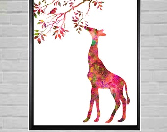 Girls Room Decor, Large Nursery Art, Nursery Poster, Kids Wall Art, Giraffe wall Art, Nursery Wall Art, Colorful Kids Room Decor, Printable