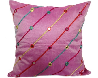 Pink Euro Sham With Silk Thread Embroidery Real Mirrors Embroidery Euro Sham 24x24 26x26 Inch Euro Sham