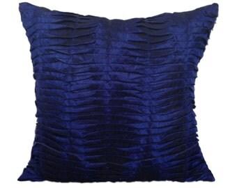 Indigo Pleated Pillow Textured Indigo Pleated Euro Sham Indigo Textured Throw Pillow 14x14 16x16 18x18 20x20 22x22 24x24 26x26