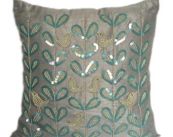 Grey Blue Beaded Pillow Cover Bird on Branch Pillows Love Birds Accent Pillow Throw Pillow Sizes 14x14 16x16 18x18 20x20 22x22
