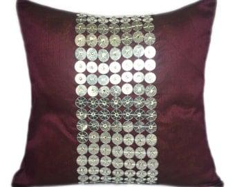 Purple Silver Decorative Pillow Cover Purple Accent Pillow Purple Throw Cushion Cover Sizes 14x14 16x16 18x18 20x20 22x22