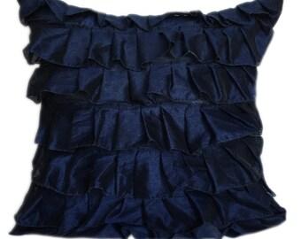 Dark Blue Ruffles Pillow Cover Ruffle Euro Sham Cover Solid Navy Blue Texture Pillow 14x14 16x16 18x18 20x20 22x22 24x24 26x26