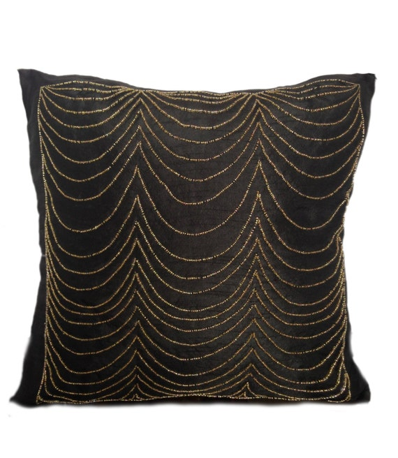 black decorative pillow cover with gold by thewhitepetalsdecor. Black Bedroom Furniture Sets. Home Design Ideas