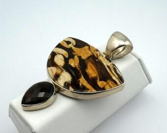 Large Leopard Jasper and Smokey Quartz an a Sterling Silver Pendant