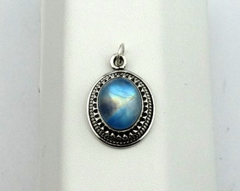 Gorgeous Blue Labradorite in a Simple Sterling Silver Pendant