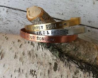 Mantra Cuff, Mantra Bracelet, Cuff Bracelet, Hand Engraved Jewelry, Gypsy Bracelets, Personalized Jewelry, Stack Bracelets, Custom Jewelry
