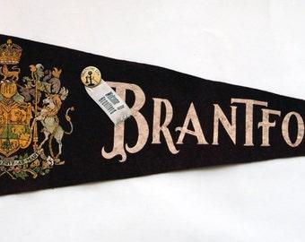 Genuine Vintage 1940s-'50s  era Felt Pennant Brantford  (Ontario, Canada) -- Free Shipping