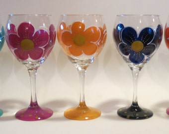 One Painted Flower Wine Glass, Floral Glass