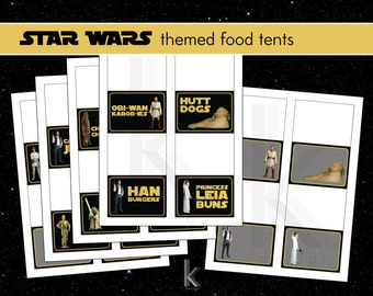 Star Wars themed party food label tent cards, printable file, Instant Digital Download
