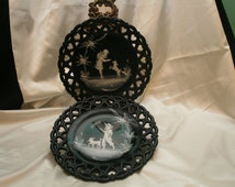 Pair of Westmoreland Mary Gregory style, laced edge, Black Glass Plates