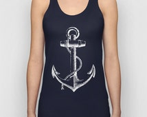 Unisex Anchor Tank Top, Nautical Tank Top, graphic tee from Signal Whiskey, Marine tshirt, Navy Blue Tank Top