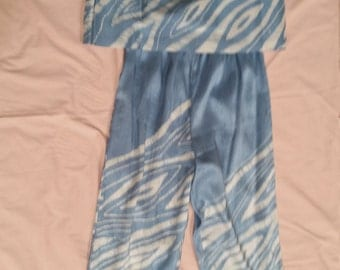 Blue and Cream All-Silk Camisole and Pants Outfit