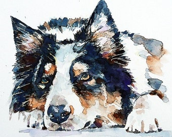 "Border Collie  "" Print Watercolour A3 (30*40cm/16*12 Inches)"