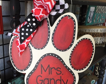 Paw Print Wood Door Hanger, Personalized, Wood Cut out