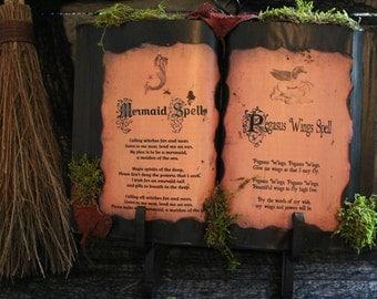 """Halloween Spell Book, """"Mermaid Spell & Pegasus Wings Spell"""", One-Of-A-Kind, Halloween Decor, Prop, Display, Haunted House, Mermaid, Pegasus"""