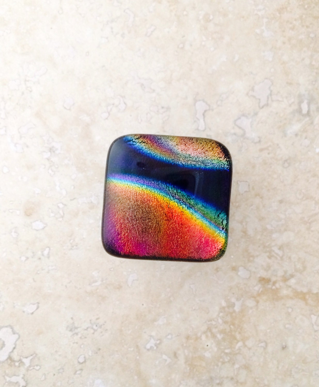 Dichroic Glass Cabinet Door Pull With Oil Rubbed Bronze