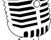 Retro 50s Radio Microphone Die-Cut Decal Car Window Wall Bumper Phone Laptop