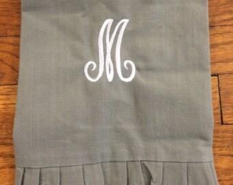 Monogrammed Linen Ruffle Towel in Slate Gray