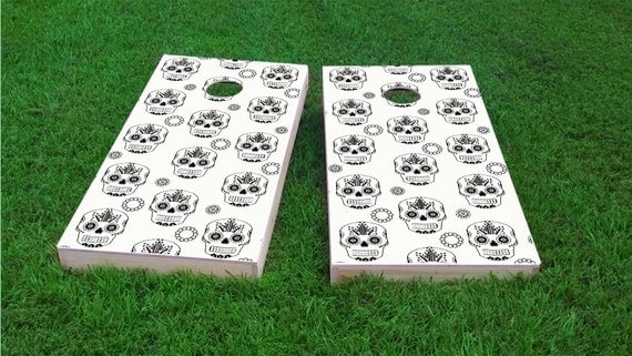 Sugar Skull 1x4 Size Custom Cornhole Board Game Set