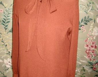 YSL vintage ruffle blouse * rusty color silk crepe * size 40 France/ 38 EU