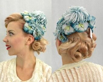Vintage Hat 50s Blue Flower Fascinator | Velvet Floral Hat